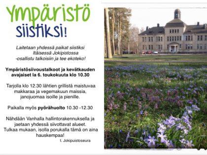 Ympäristötalkoot ja kevätkauden avaus Itäisessä Jokipuistossa